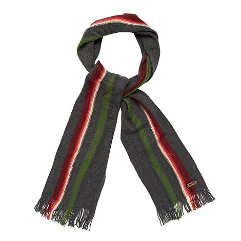 Mantaray - Dark grey placement striped knit scarf