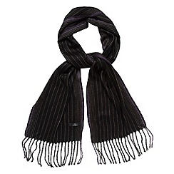 Jeff Banks - Designer black woven striped scarf