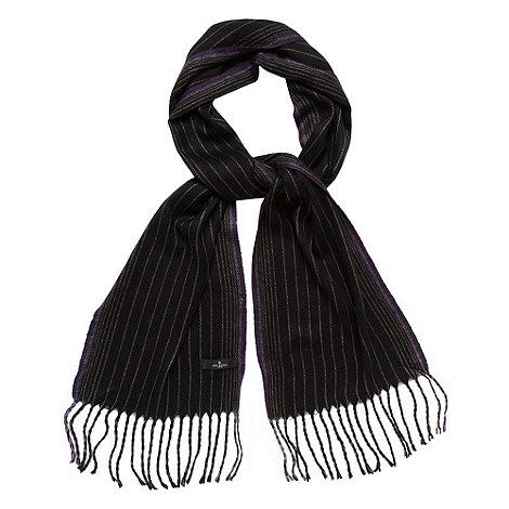 Jeff Banks - Designer black woven striped scarf