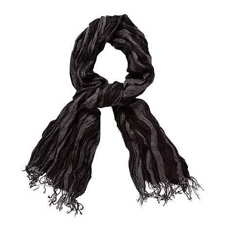 Jeff Banks - Designer dark grey woven crinkle scarf