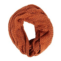 Mantaray - Dark orange textured knit snood