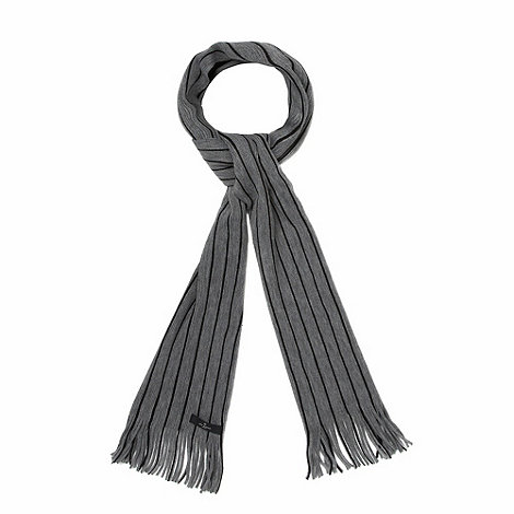 Jeff Banks - Designer grey tonal pinstriped scarf