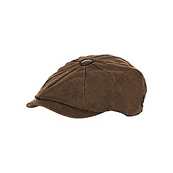 Mantaray - Brown waxed baker boy cap