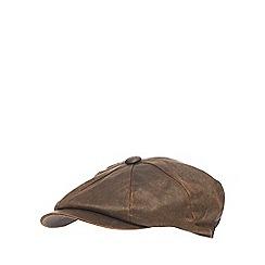 Mantaray - Brown waxed baker boy hat