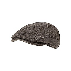 RJR.John Rocha - Brown herringbone ear flap flat cap
