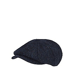 RJR.John Rocha - Blue pure wool herringbone patterned baker boy cap