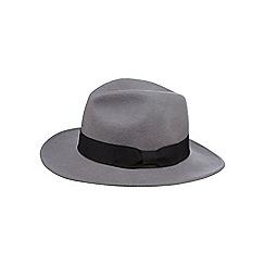 Osborne - Grey bow band wool fedora hat