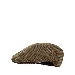 Osborne - Khaki wool blend dogtooth flat cap