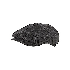 Hammond & Co. by Patrick Grant - Grey herringbone patterned flat cap with wool