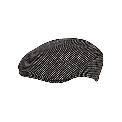 Hammond & Co. by Patrick Grant - Grey dogtooth patterned flat cap with wool