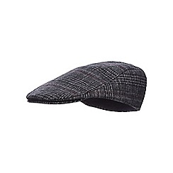 Hammond & Co. by Patrick Grant - Grey checked print flat cap with wool