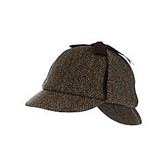 Hammond & Co. by Patrick Grant - Green pure wool herringbone Harris Tweed deerstalker cap