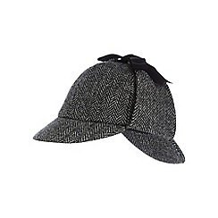 Hammond & Co. by Patrick Grant - Grey pure wool herringbone Harris Tweed deerstalker cap