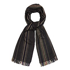The Collection - Dark grey striped knit scarf