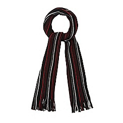 The Collection - Black pinstripe fringe scarf