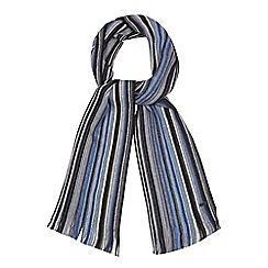 RJR.John Rocha - Blue wool striped knit scarf