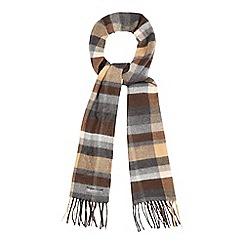 RJR.John Rocha - Brown check print fringe scarf