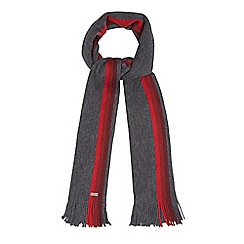J by Jasper Conran - Grey wool striped edge scarf