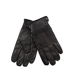 The Collection - Black leather panelled gloves