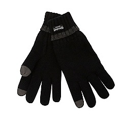 The Collection - Black ribbed tip touch screen gloves