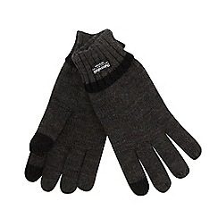 The Collection - Grey plain ribbed touch screen gloves