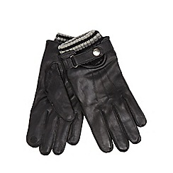 RJR.John Rocha - Black leather touch screen knitted cuff gloves