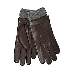 Hammond & Co. by Patrick Grant - Dark brown leather turn up gloves