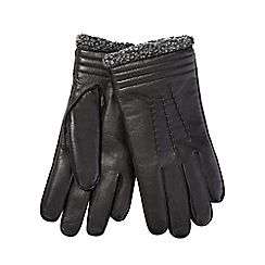 Hammond & Co. by Patrick Grant - Black leather gathered gloves
