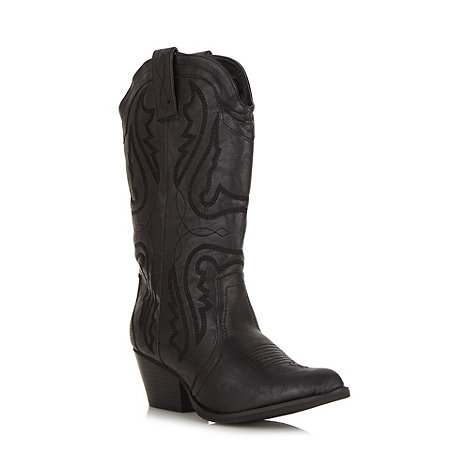 Mantaray - Black embroidered calf length boots
