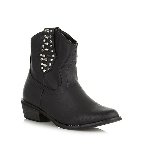 Red Herring - Black studded mid heeled cowboy boots