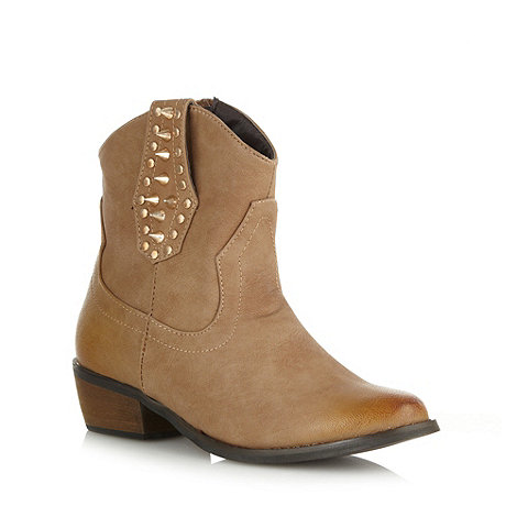 Red Herring - Tan studded mid heeled cowboy boots