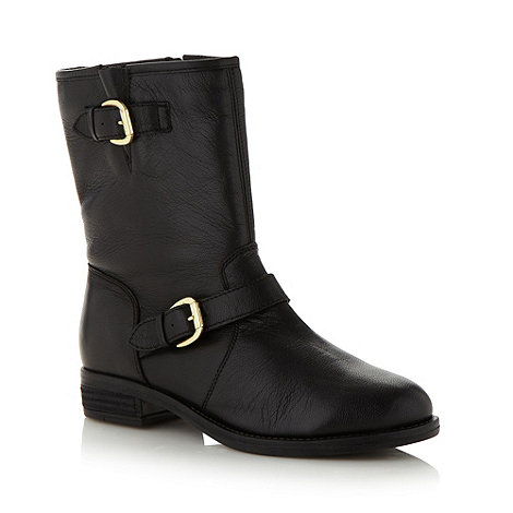 Mantaray - Black leather double buckle biker boots