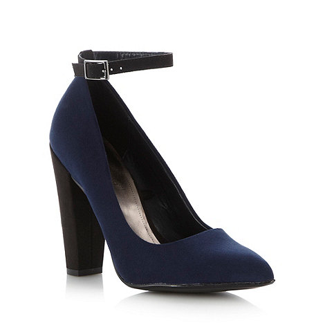 Red Herring - Navy pointed high block heel court shoes