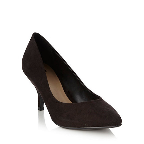 The Collection - Black pointed mid height court shoes