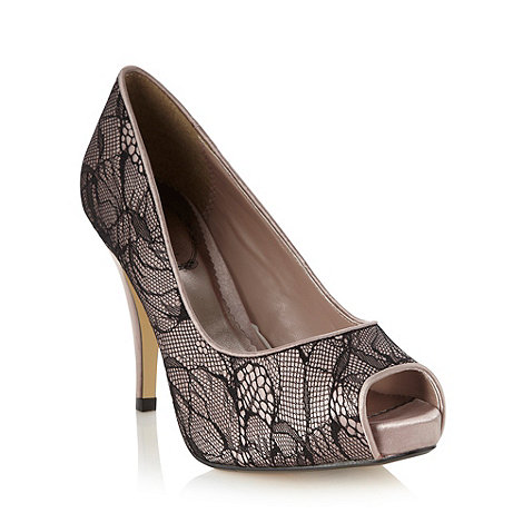 Debut - Taupe satin lace high court shoes