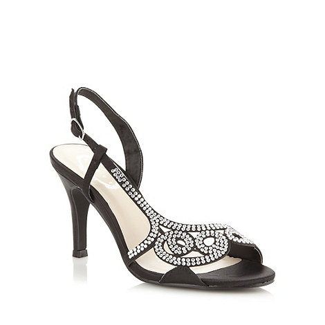 Debut - Black diamante and satin high heeled sandals