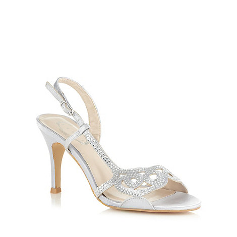 Debut - Silver diamante and satin high heeled sandals