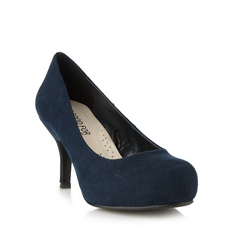 Good for the Sole - Navy wide fit high heel court shoes