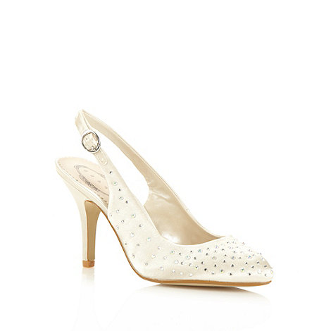 Debut - Ivory diamante slingback high court shoes
