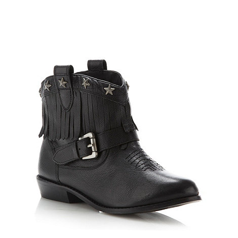 Red Herring - Black leather fringe ankle boots