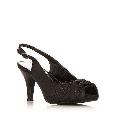 Debut - Black satin high slingback court shoes