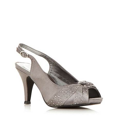 Debut - Grey satin high slingback court shoe