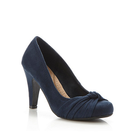 Good for the Sole - Navy wide fit knotted trim high court shoes