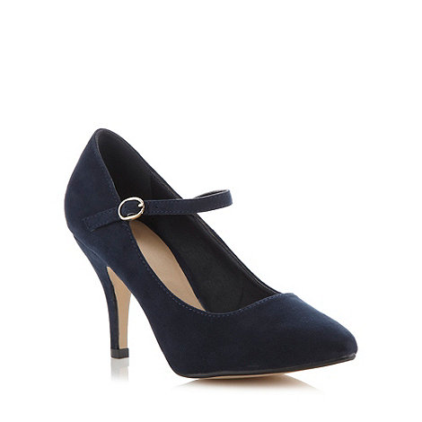 The Collection - Navy pointed toe high court shoes