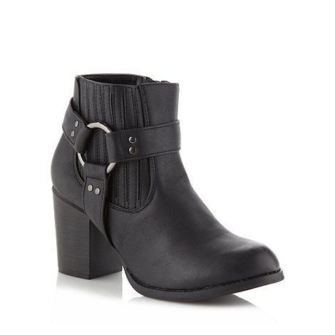 Red Herring - Black western strap ankle boots