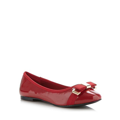The Collection - Red patent ribbon bow trim pumps