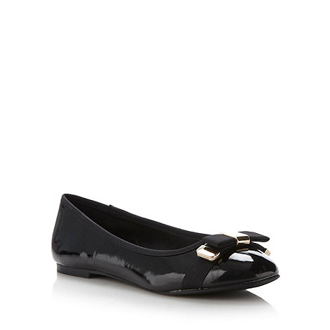 The Collection - Black patent ribbon bow trim pumps