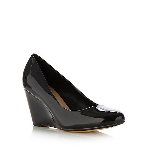 The Collection - Black patent high wedge court shoes