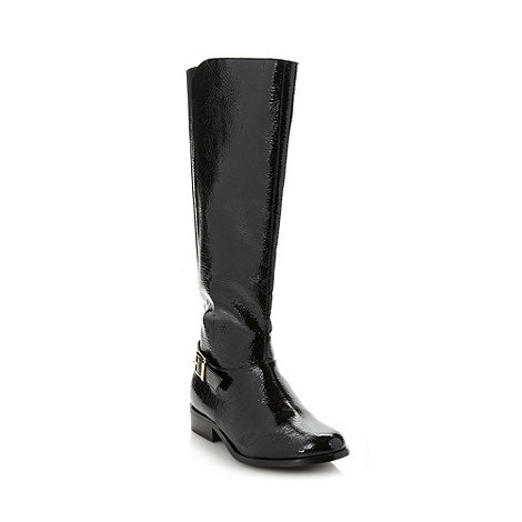 Good for the Sole - Black patent knee high EEE wide fit boots