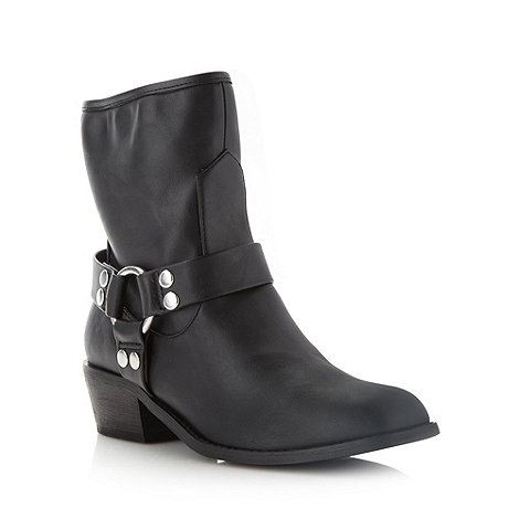 Red Herring - Black mid heel biker boots